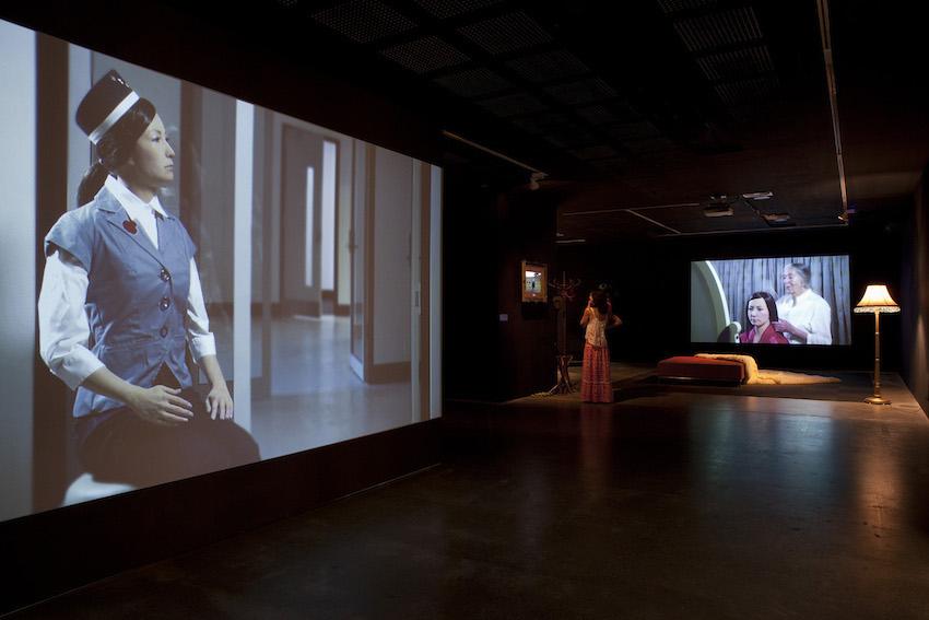 Figure 4: Beyond Beyond the Valley of the Dolls, UNSW Galleries, 2015.Radical Hospitality, Lamassu Kentaurosu Wagyu, Pathetic Fallacy, installation view. Photo: Maylei Hunt